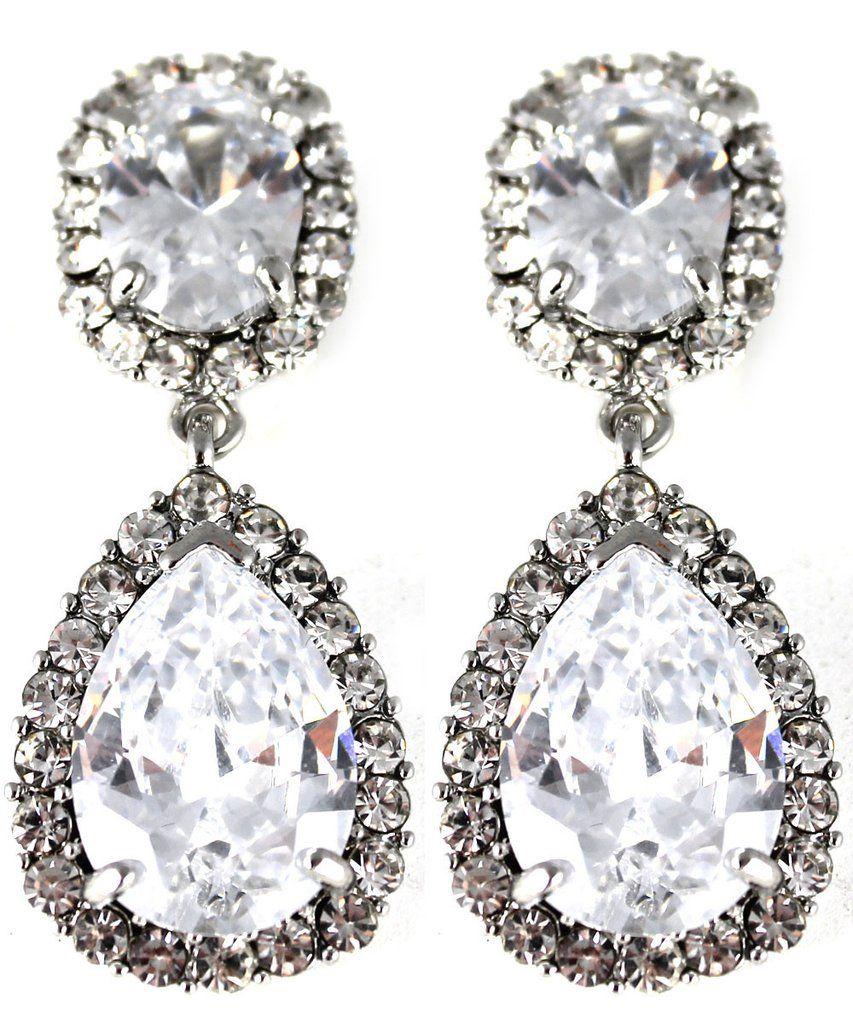 Statement Silver Crystal Drop Clip On Earrings