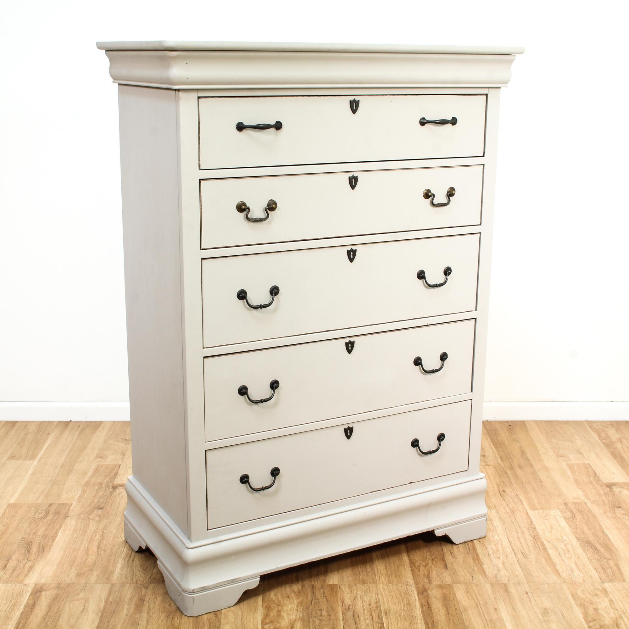 Best Bassett White Contemporary Highboy Dresser 640 x 480