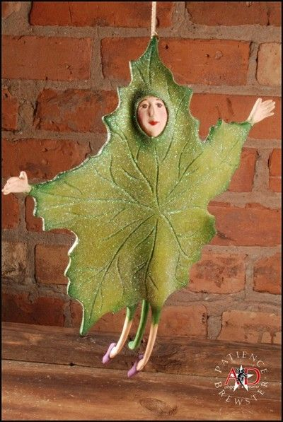 """PATIENCE BREWSTER 2012  GREEN FALLING LEAF ORNAMENT    Dimensions: 10.5""""  Primary Material: Stone Resin    Painted entirely by hand! Each piece is an individual work of art!    Your Price: $49.50"""