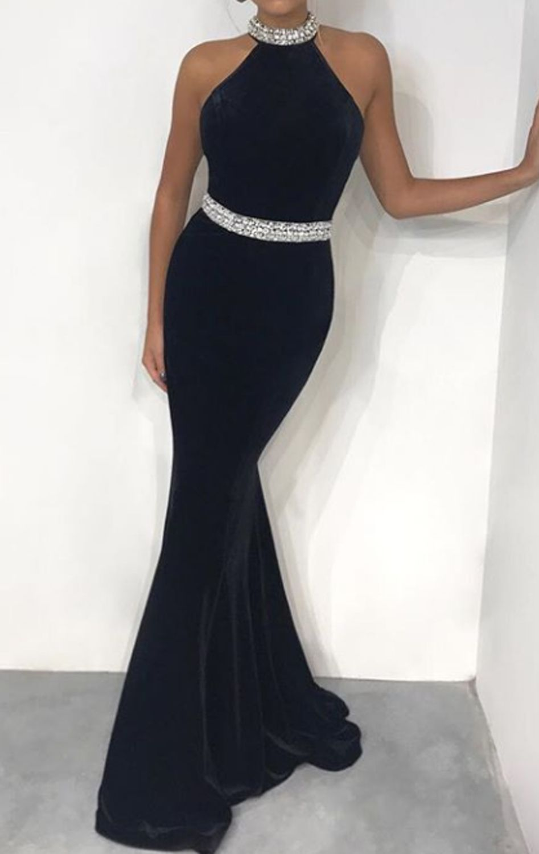 Halter Mermaid Black Velvet Long Prom Dress Elegant Formal Evening