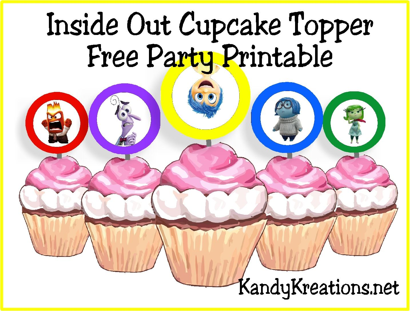 Inside Out Cupcake Topper Party Printables