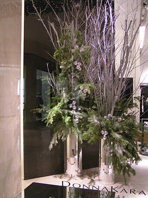 CHRISTMAS pine & bling vases