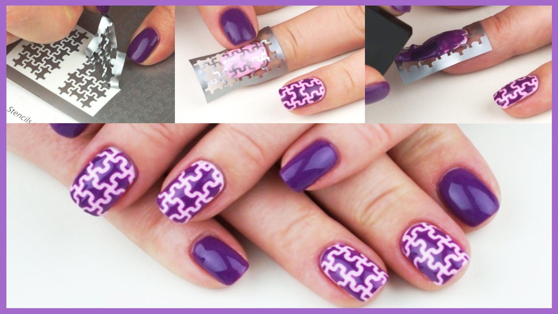 Nail Art Tutorial   Big Puzzle Nail Design   Unail Stencil   DIY ...