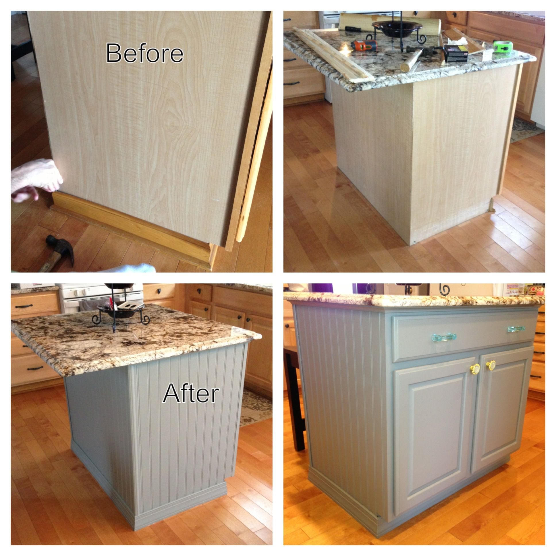 Kitchen Island DIY project - bead board, paint and trim ...