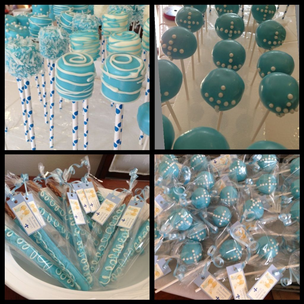 Cake Pops Ideas For Christening : Cake pops ,marshmallow pops and pretzels cover in ...