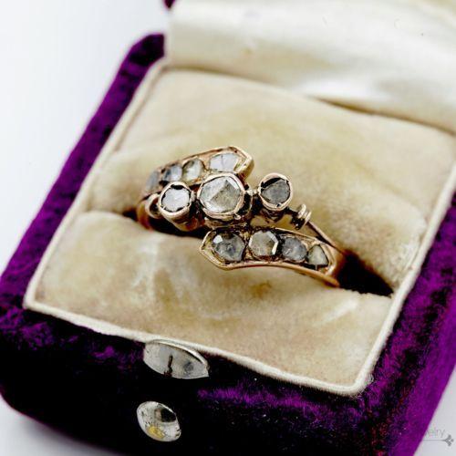 Antique-Vintage-Georgian-14k-Rose-Gold-40-Ct-Rose-Diamond-Wedding-Ring-Sz-5-25