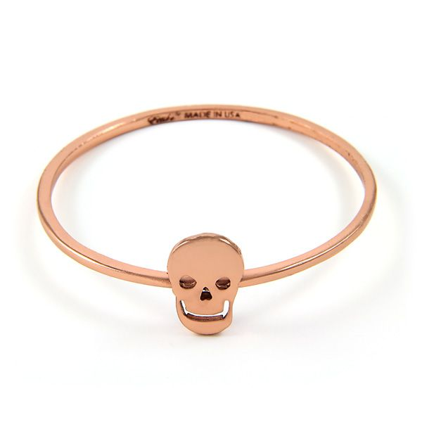 Rose Gold Bangle with Single Skull Charm $55
