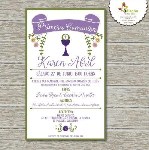 Invitación para Primera Comunión...by Adriana Cano Ramos