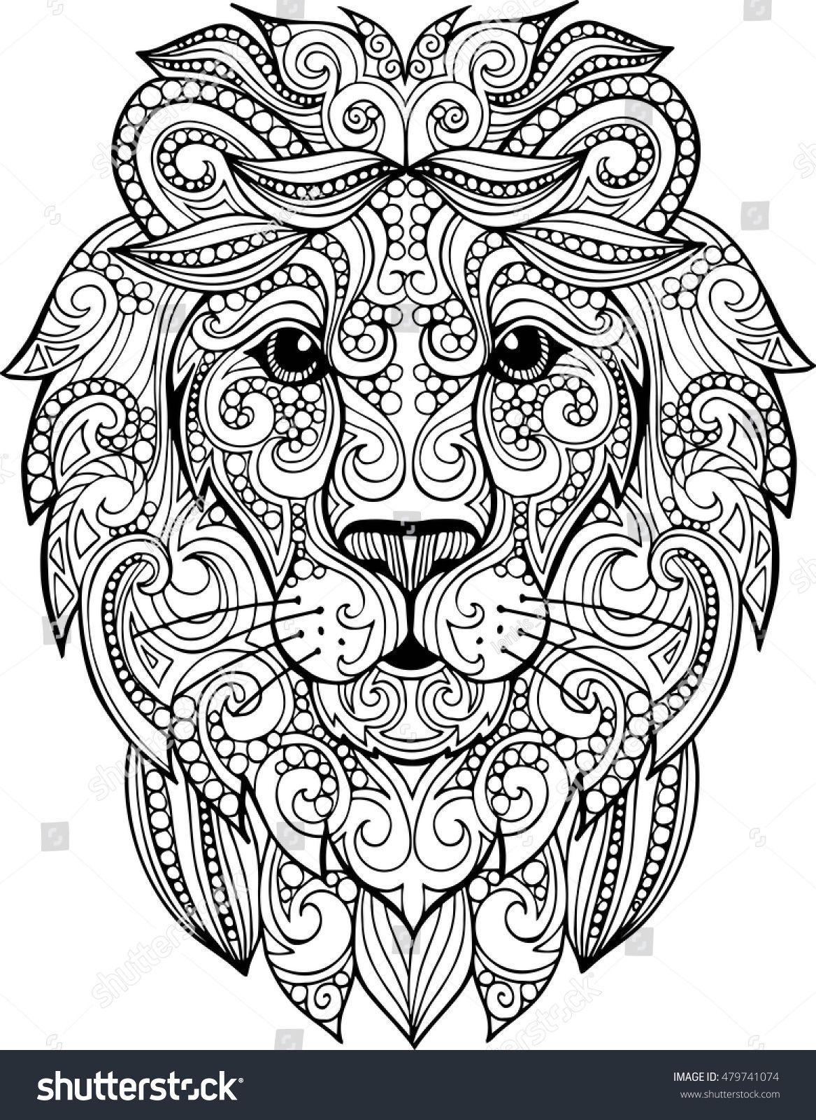 Hand Drawn Doodle Zentangle Lion Illustration Decorative Ornate