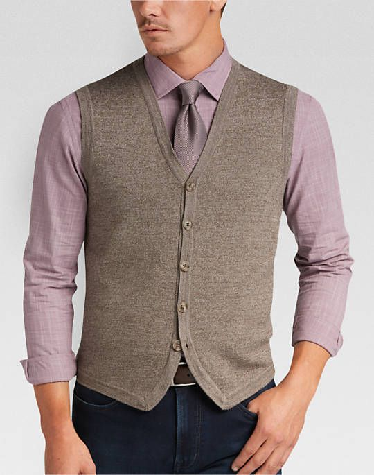 Joseph Abboud Acorn Brown Modern Fit Sweater Vest - Mens Modern ...