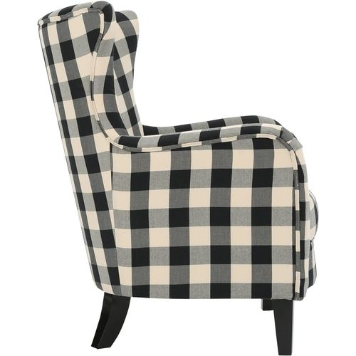 Best Noble House Kaylor Fabric Club Chair Black White 400 x 300