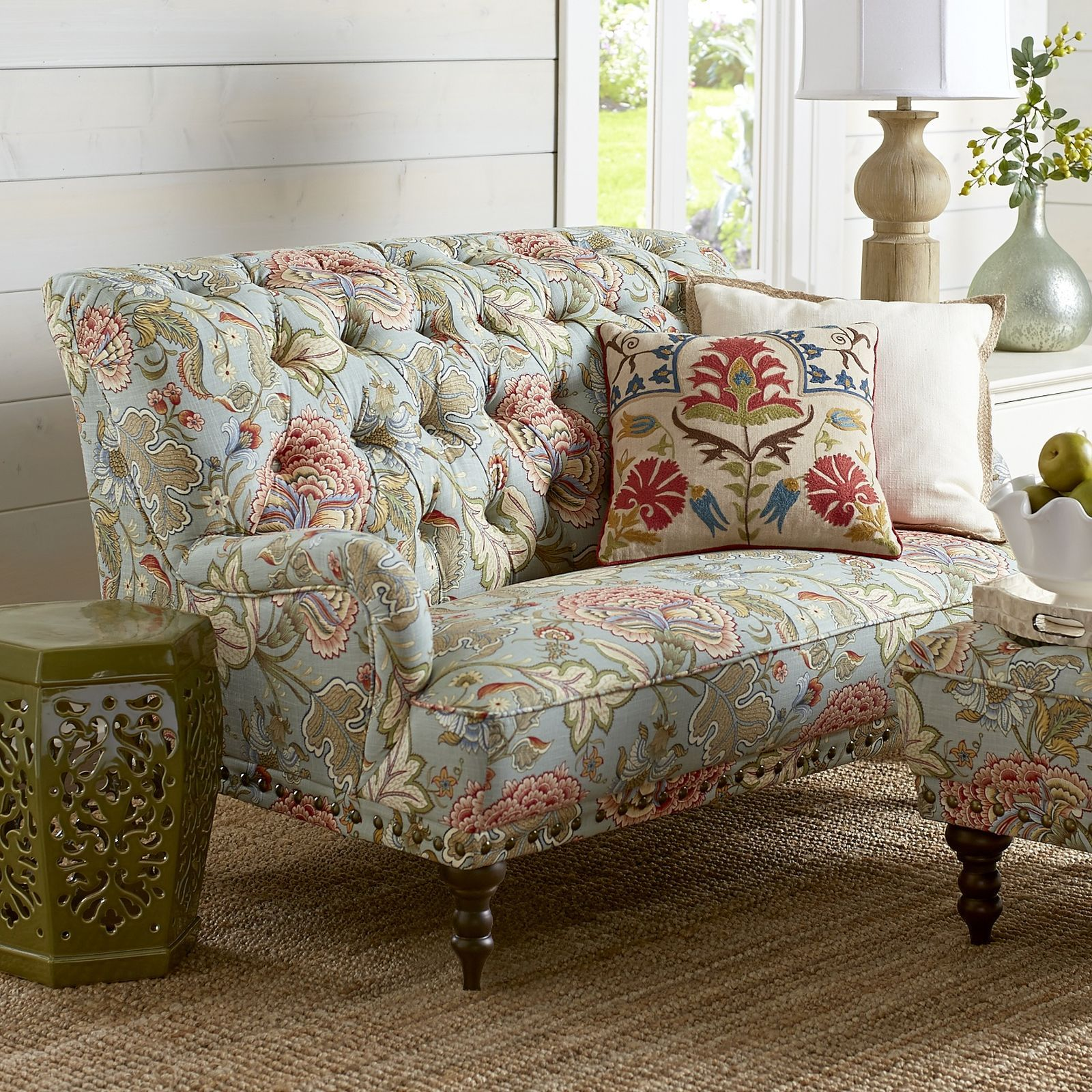 Chas Loveseat Blue Meadow Floral Sofa Love Seat Couch And