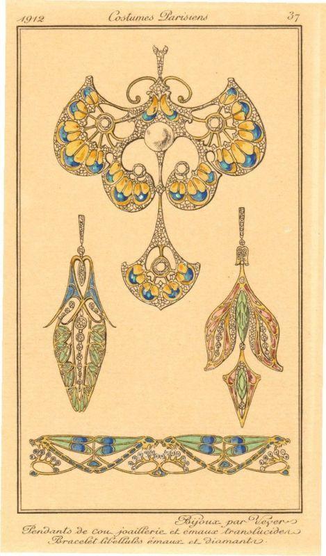 Original French Engraving 1912 Art Nouveau Jewelry Ebay Art Nouveau Pattern Art Nouveau Design Art Nouveau Jewelry