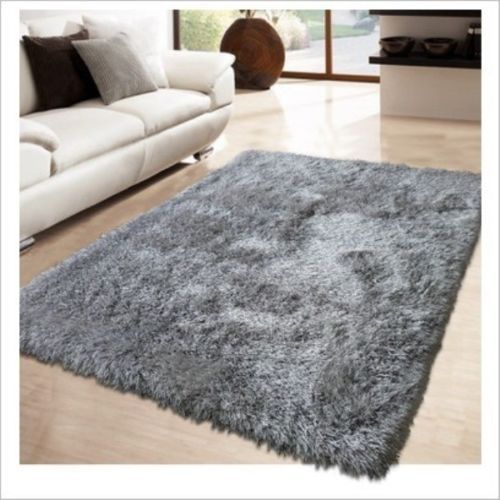 Silver Grey Thick Shaggy Rugs Floor Rug
