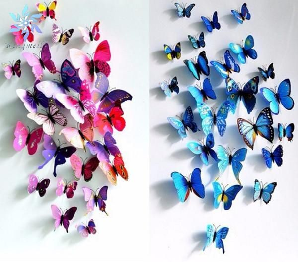 Violet and blue 24pcs three-dimensional butterfly wall stickers