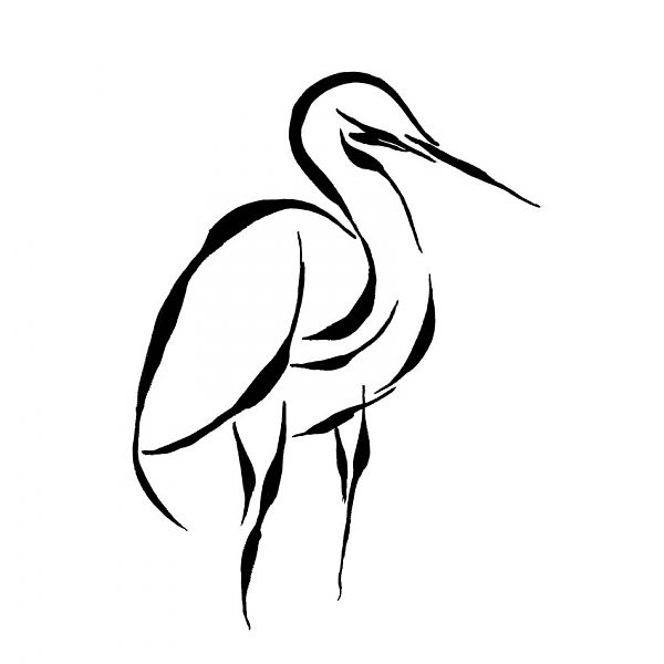 """Giclee Print Egret Bird Black and White Minimalist Abstract Line Art"" - Giclee Print, in Fine Art Photography and Prints"
