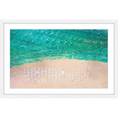 """ParvezTaj White Umbrella Beach' by Parvez Taj Framed Painting Print Size: 30"""" H x 45"""" W x 1.5"""" D"""