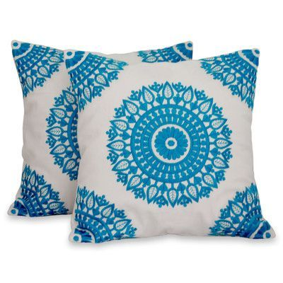 Novica Mandalas Embroidered Cotton Pillow Cover