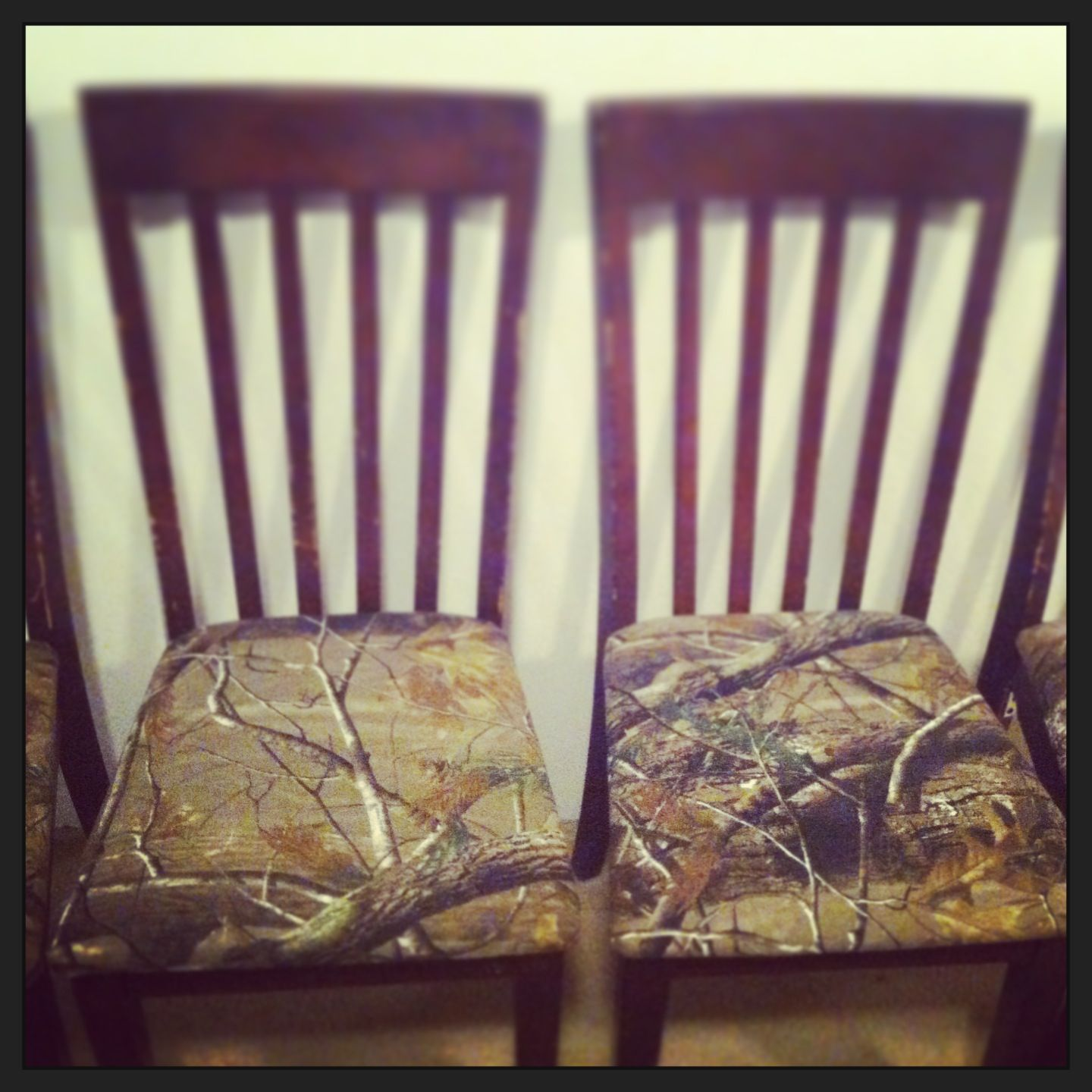 Reupholstered Kitchen Chairs With Camo Fabric.