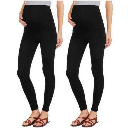 e3a633c126149 Oh! Mamma Maternity Full Panel Leggings, 2-Pack Value Bundle, Size: Small,  Black