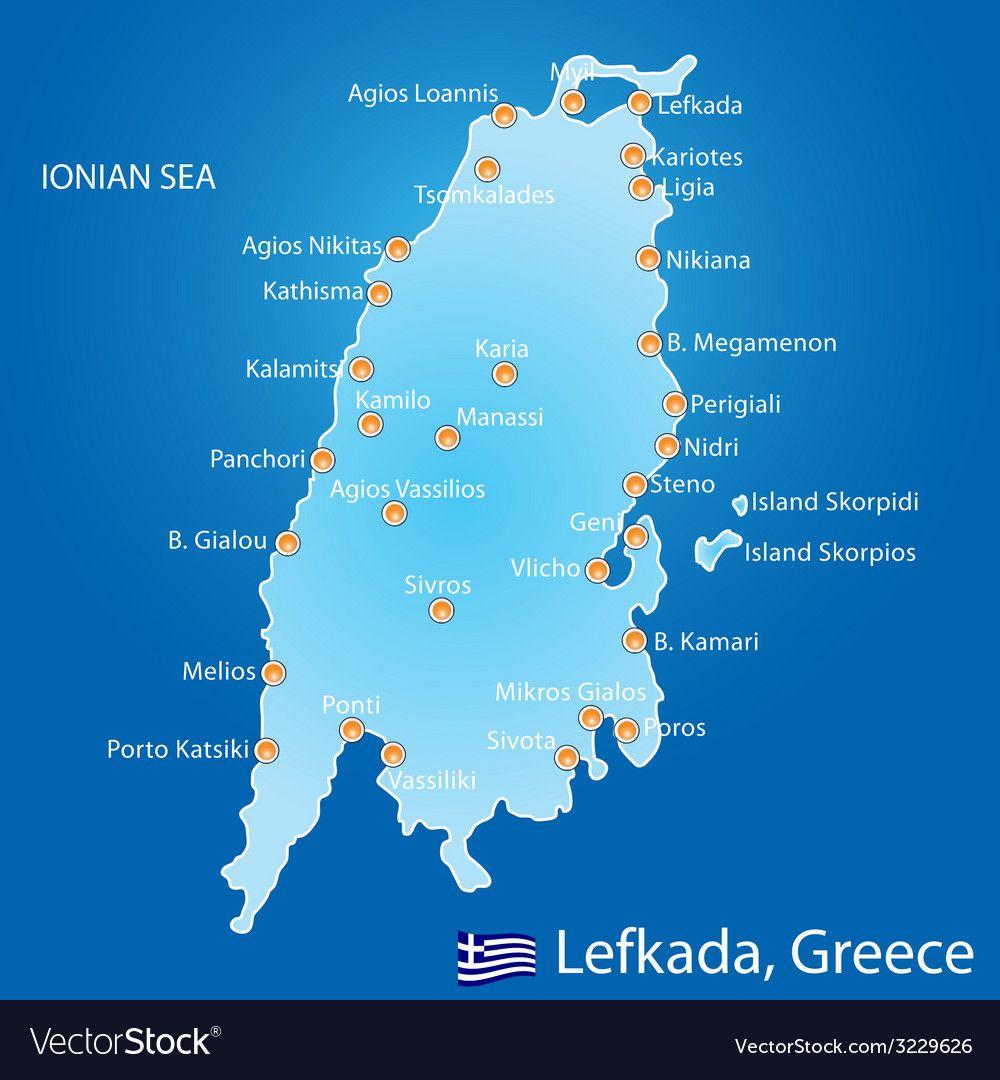 Island Of Lefkada In Greece Map Vector Image On Lefkada Beach