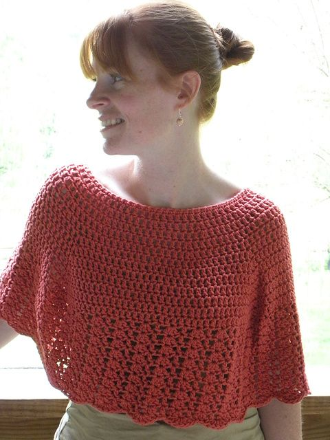 Ravelry: Crocheted Capelet: free pattern by Woolen Treasures (uses Aran weight yarn)