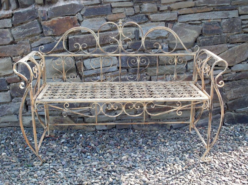 French Garden Bench Antique Metal Furniture Outdoor Vintage Patio ...