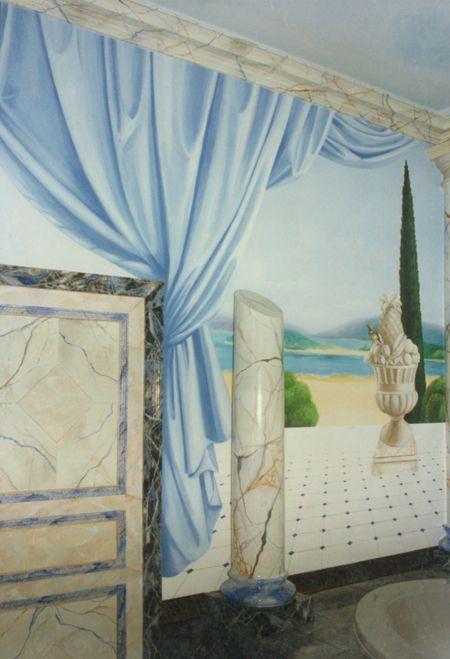 trompe l 39 oeil drap neoclassique 1 trompe l 39 oeil et peinture murale pinterest trompe yeux. Black Bedroom Furniture Sets. Home Design Ideas