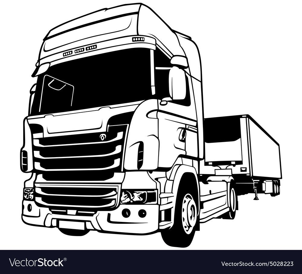 Trailer Truck Royalty Free Vector Image Vectorstock Aff Royalty Truck Trailer Free Ad Truck Coloring Pages Trucks Vector