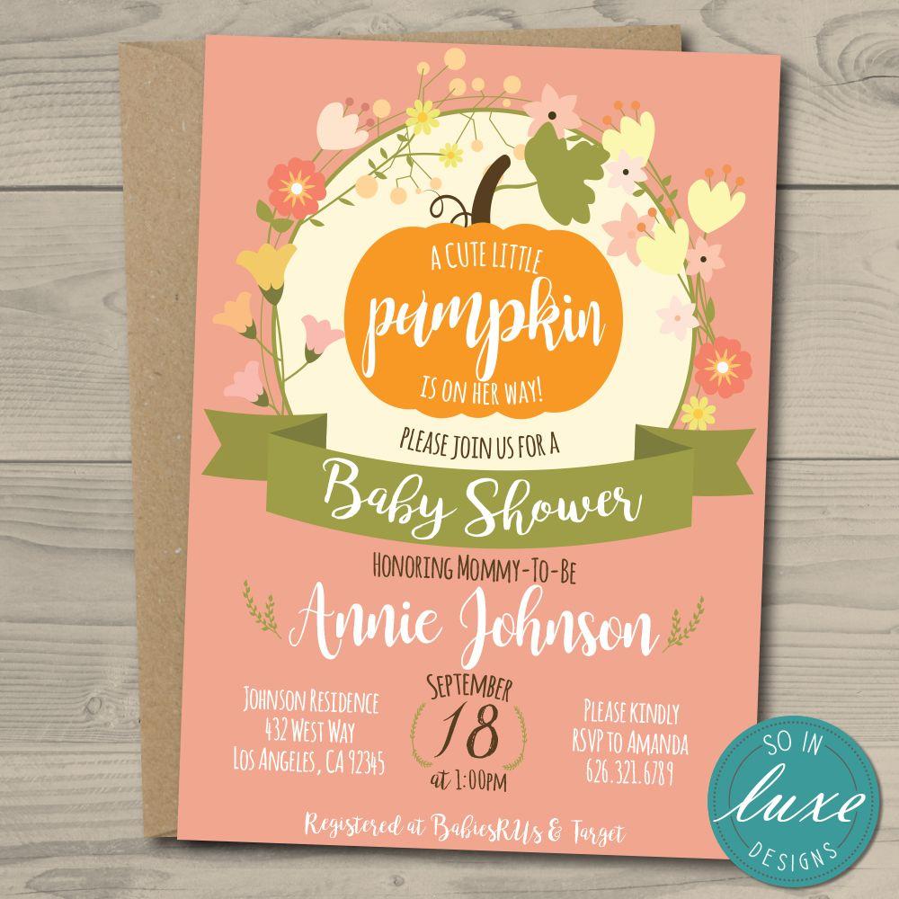 Autumn Themed Baby Shower Invitation, pumpkin, halloween, 5x7, pink ...