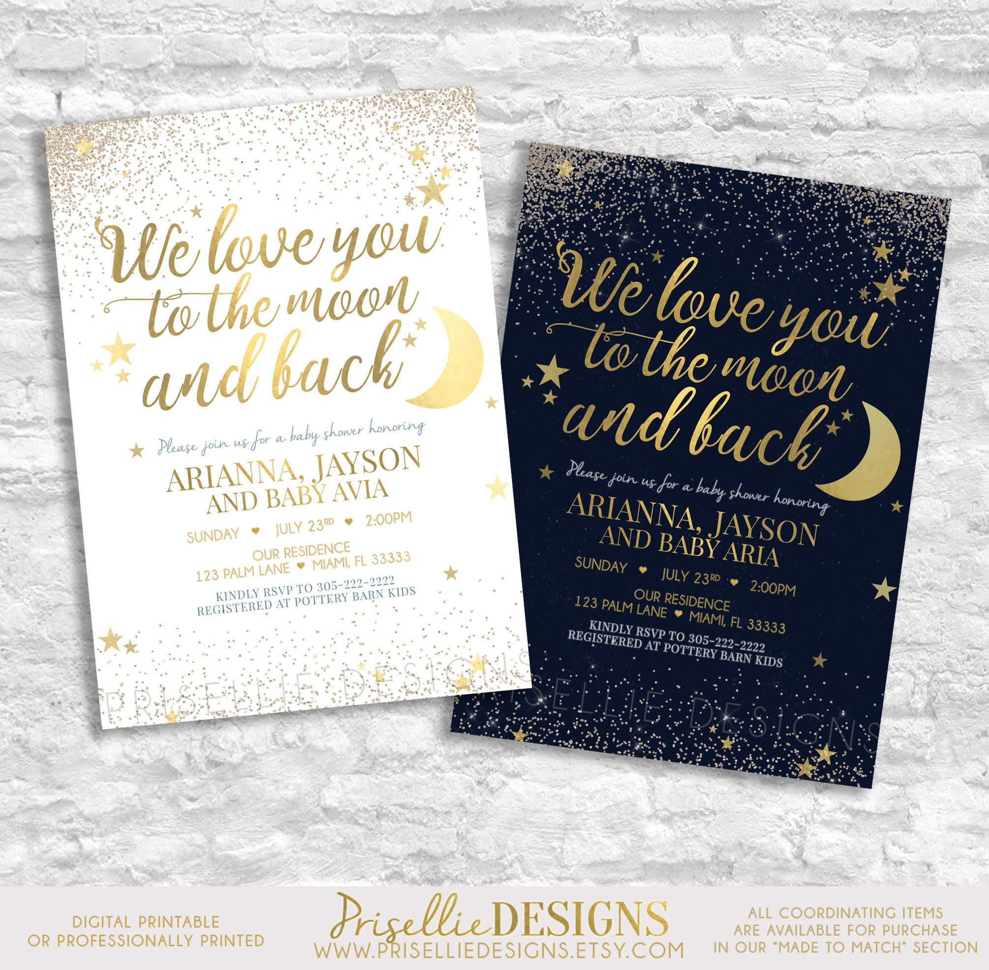 Love you to the Moon and Back Baby Shower Invitation Heaven Sent