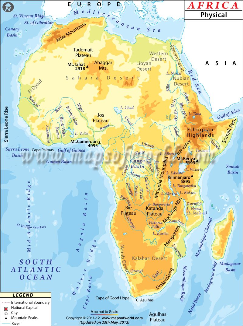 Physical map of africa deserts plateaus rivers etc africa africa physical map physical map of africa gumiabroncs Images