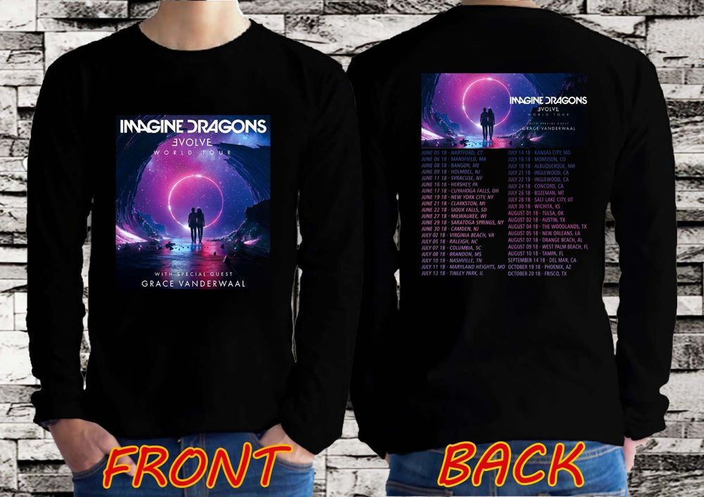 c16dbe8a78f4a5 Imagine Dragons Evolve World with Grace VanderWaal Tour 2018 Long Sleeve T- shirt  fashion  clothing  shoes  accessories  mensclothing  shirts (ebay  link)