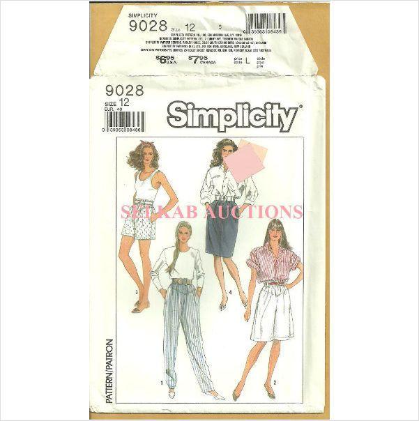 Simplicity 9028 Sewing Pattern Misses\' Shorts Pants Skirt Walking ...
