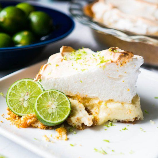 A tart and creamy key lime filling with a fluffy sweet meringue on top!