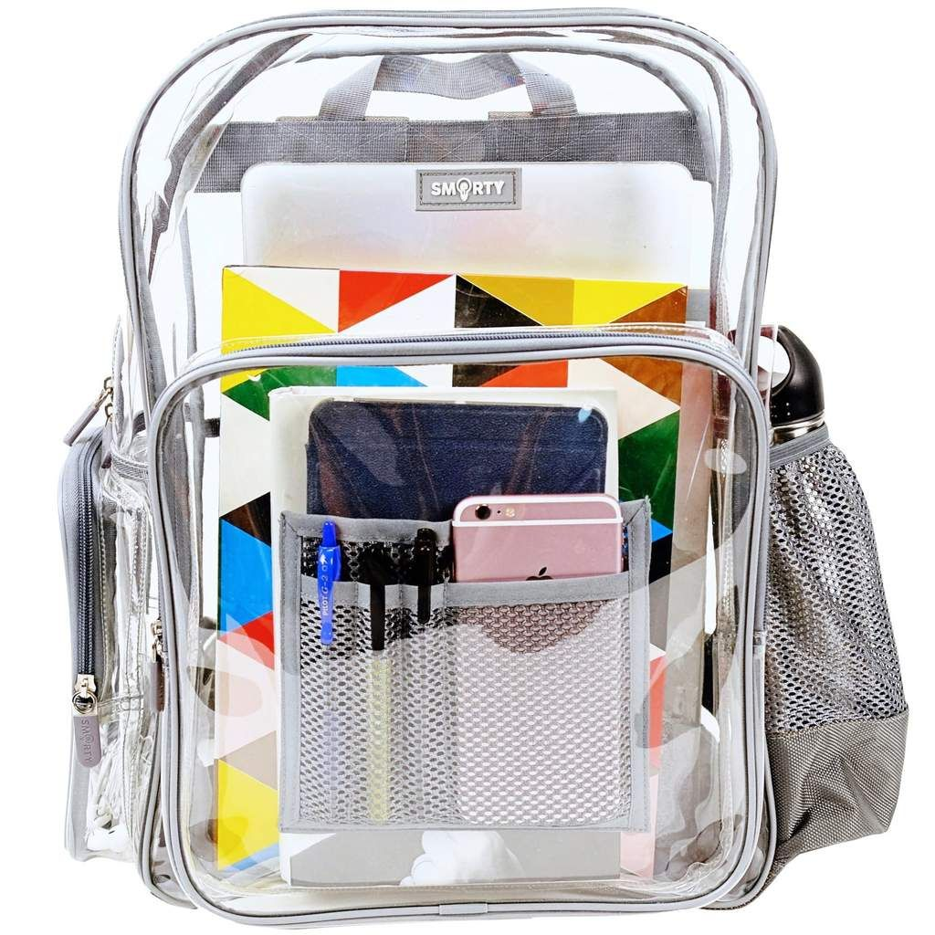 826910ab83 Heavy Duty Clear Backpack - Cool Gray (Large) - THE SMARTY CO.
