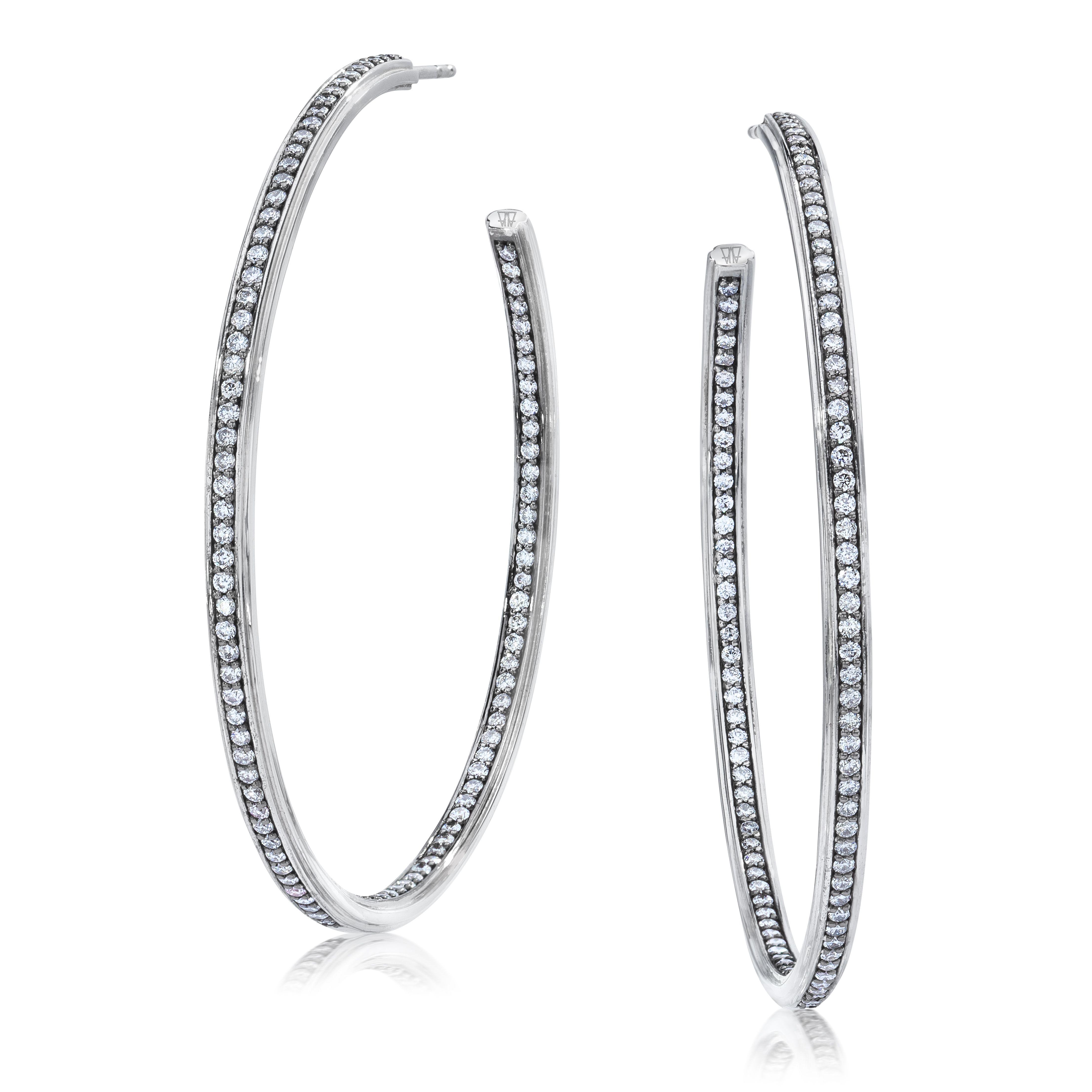 Walters Faith Keynes Hexagon Pass Through Diamond Hoop Earrings 8Slc4SDk