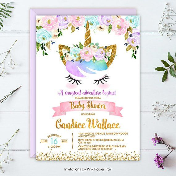 Unicorn Baby Shower Invitation Magical Rainbow Fl
