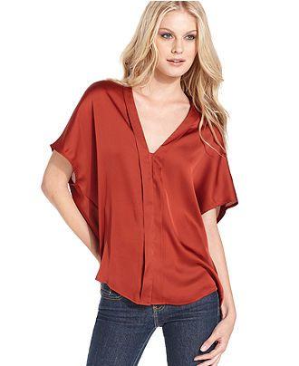 Kensie Top Short Sleeve V Neck Satin Blouse Womens Tops Macy S