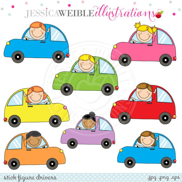 Stick Figure Drivers Cute Clipart Scrapbook Clipart Driving Etsy Stick Figures Cute Clipart Clip Art