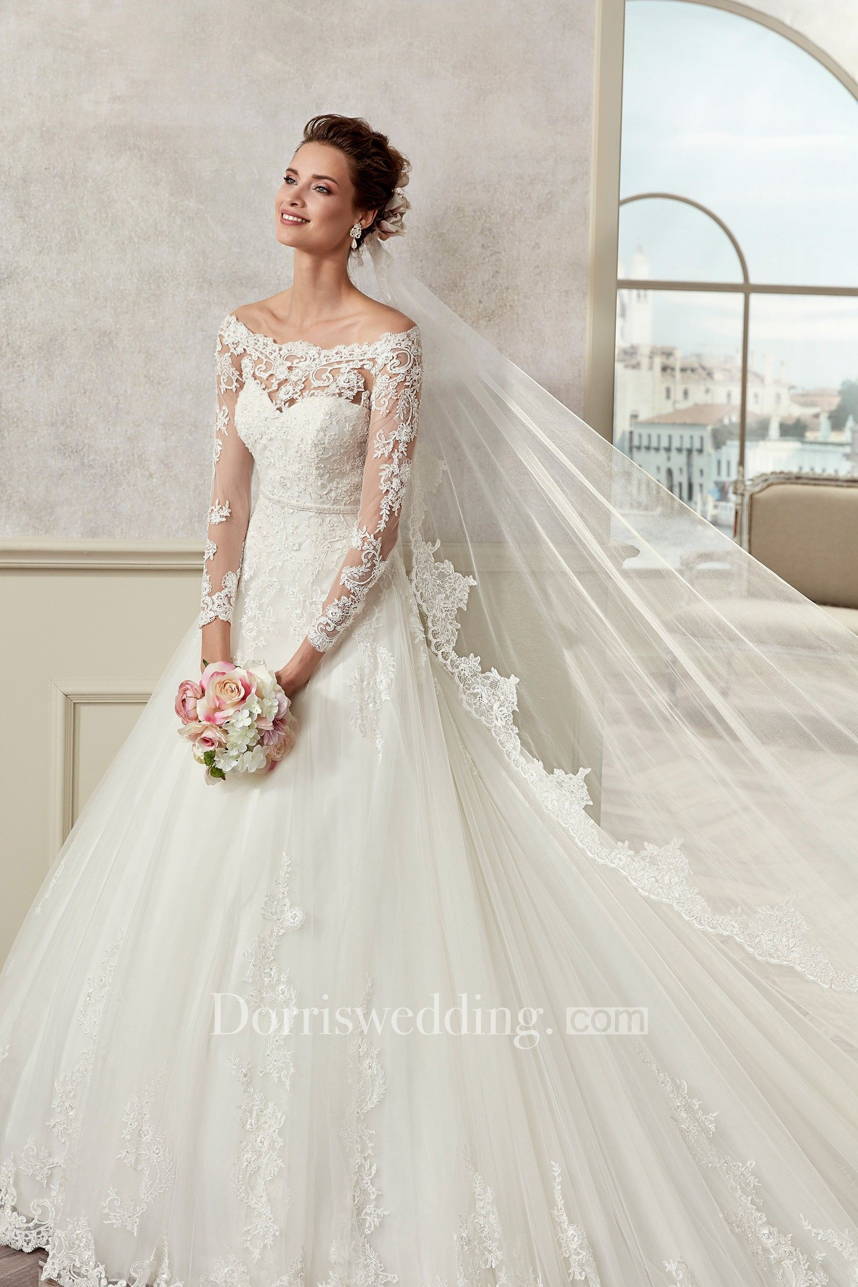 Off Shoulder Long Sleeve A Line Bridal Gown With Illusive Design And Brush Train A Line Wedding Dress A Line Bridal Gowns Winter Wedding Dress