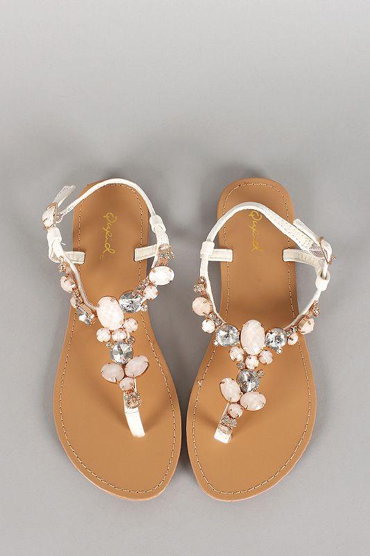 8c06f17f1131 Qupid Leatherette Gemstone T-Strap Flat Sandal