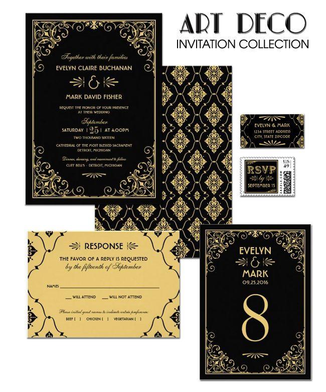 Black And Gold Wedding Invitations   Art Deco Wedding Style   Vintage  Wedding