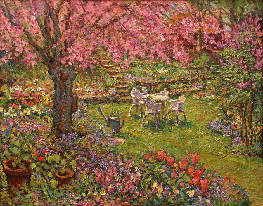 An Original Oil Painting Of A Japanese Flowering Cherry Tree In The Artists  Garden By Leif