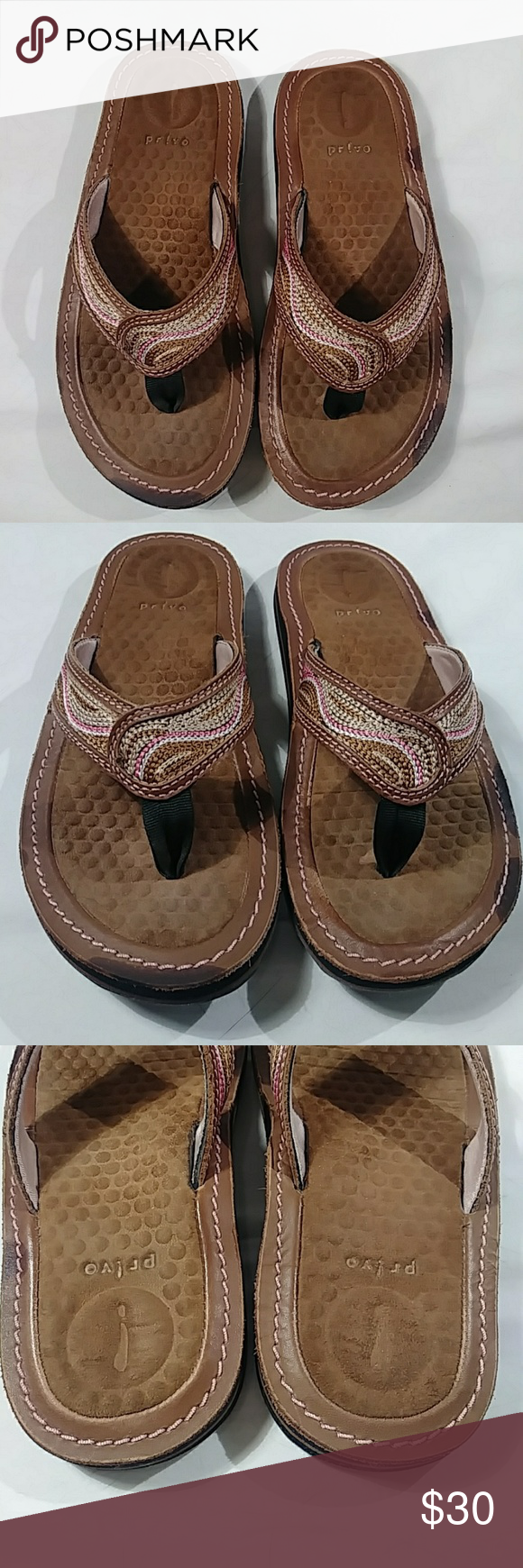 da56d6d338d6 Privo Clark Fli flops Privo flip flop Clark in brown with pink and beige  accent strapping
