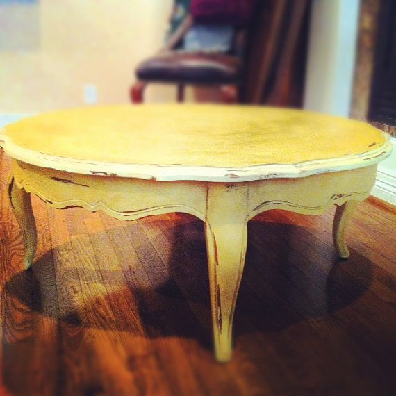 Yellow Shabby Chic Coffee Table By Rmfurniturefinds On Etsy