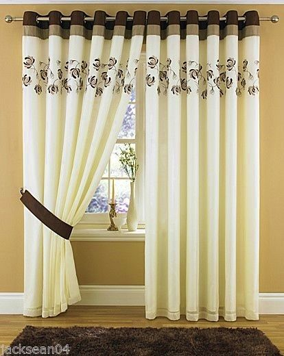 Cream Brown Lined Ring Top Eyelet Voile Curtains 8 Sizes
