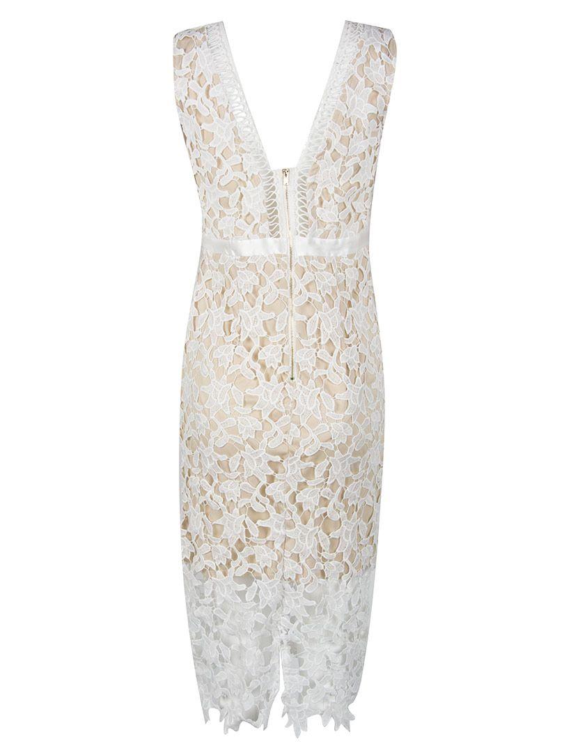 Crochet Crocheted V-Neck Sheath Dress