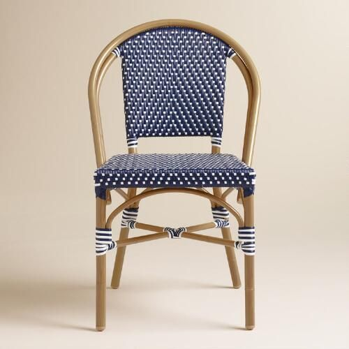 dark navy bistro chairs set french rattan for sale metal folding
