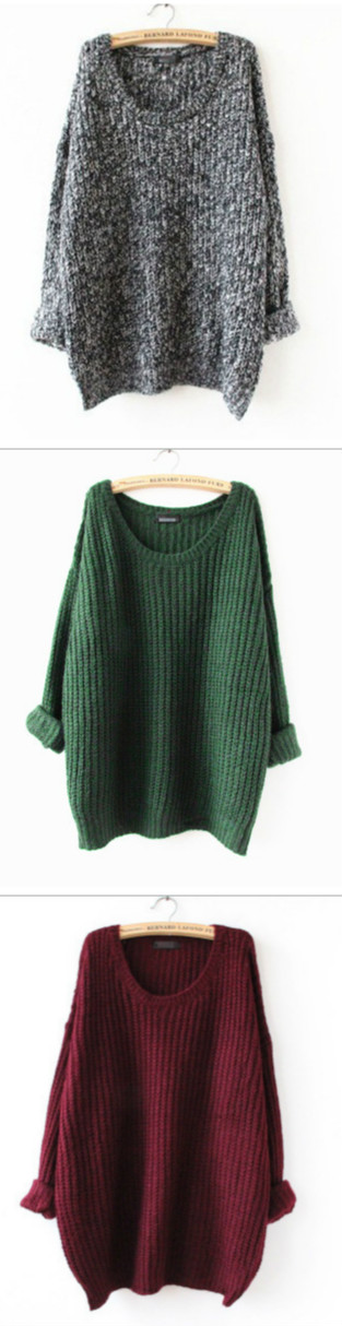 be06f93e4 Oversized Scoop Neck Loose Fit Chunky Knit Sweater More